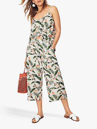 Oasis Delia Palm Print Trousers, Multi
