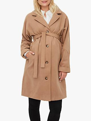 Mamalicious Hilly Tie-Belt Maternity Coat, Tobacco Brown
