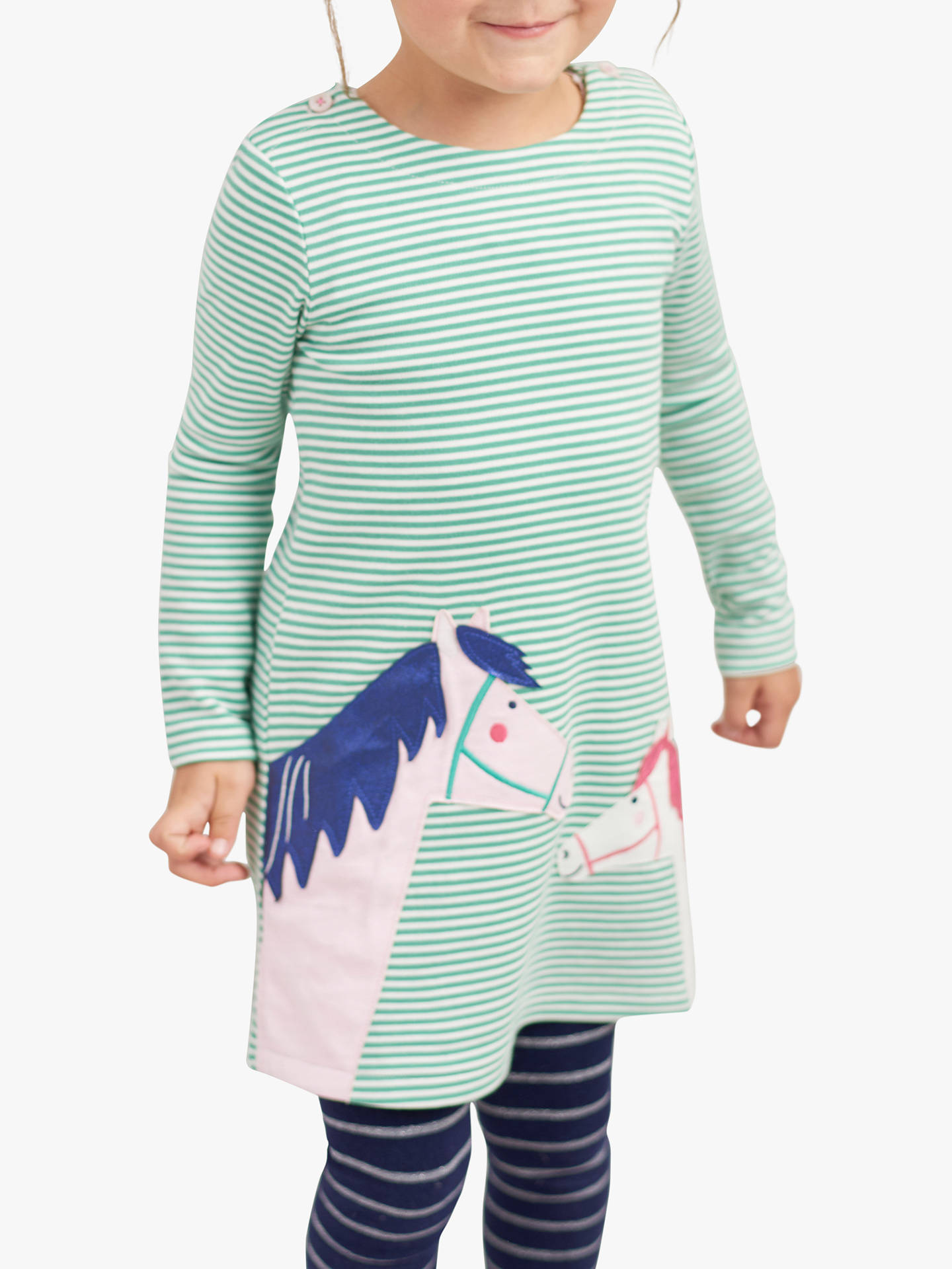 Brand new Joules Girls Kaye Applique Dress Navy Stripe Horse Size 1yr RRP £29.99