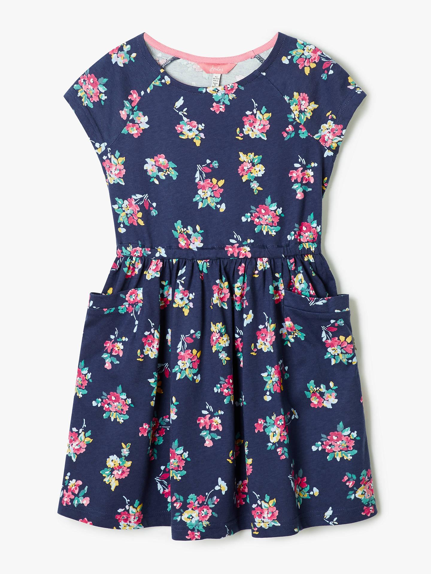 Blue Floral Joules Girls Jude Jersey Dress
