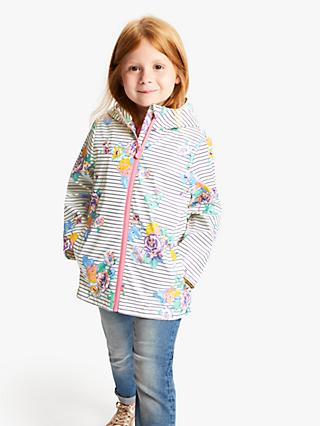 Little Joule Girls' Rain Dance Coat, Cream/Multi