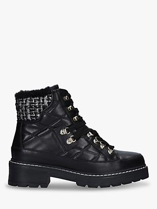 Kurt Geiger London Roman Embellished Leather Quilted Hiker Boots, Black