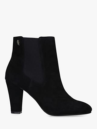 Kurt Geiger London Ronnie Cone Heel Suede Ankle Boots, Black
