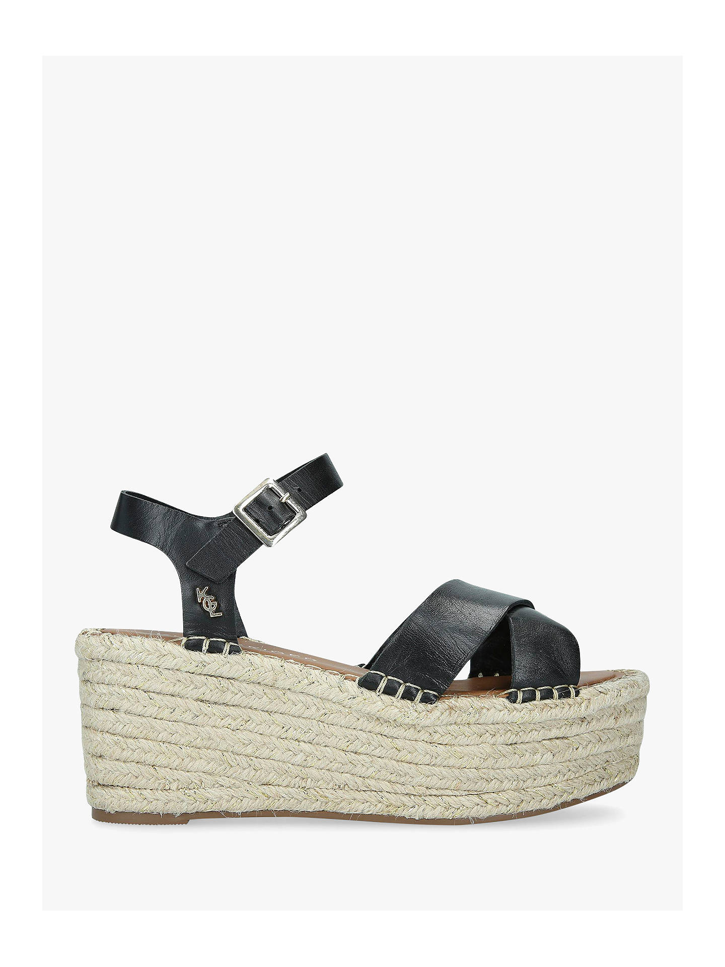 146b481ee4a Kurt Geiger London Arlo Woven Wedge Leather Sandals, Black