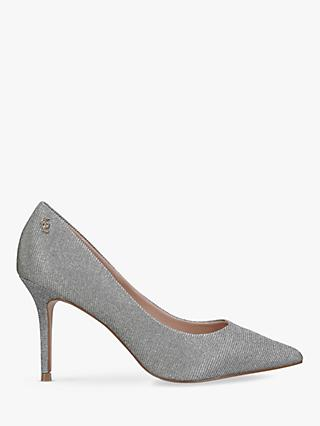 Kurt Geiger London Penina High Heel Court Shoes, Silver