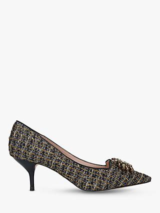 Kurt Geiger London Pia Jewel Tweed Mid Heel Court Shoes, Black/Gold