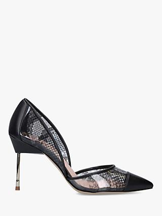 Kurt Geiger London Bond 90 Snakeskin High Heel Court Shoes, Grey