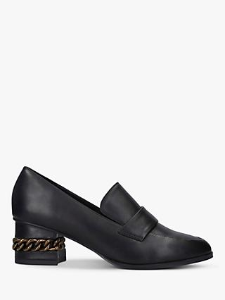 Kurt Geiger London Raquel Leather Chain Detail Heeled Loafers, Black