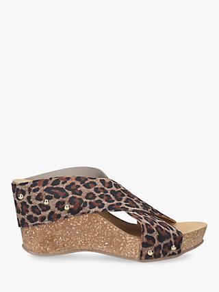 Carvela Comfort Sooty Cross Strap Wedge Heel Sandals, Leopard Print