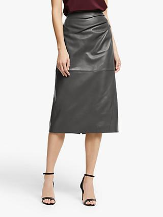 Modern Rarity Leather Skirt, Grey