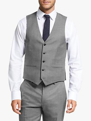 John Lewis & Partners Wool Puppytooth Tailored Fit Waistcoat, Grey