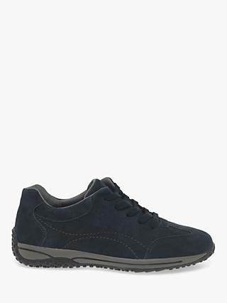 Gabor Geno Wide Fit Nubuck Leather Trainers, Nightblue