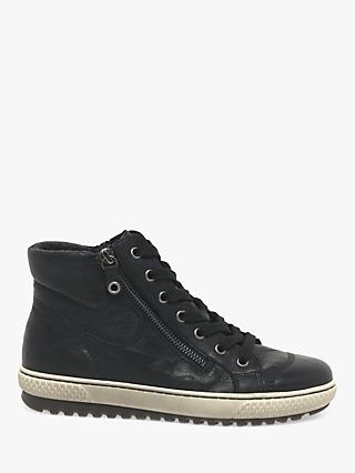 Gabor Bulner Leather High Top Trainers, Black