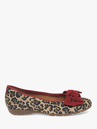 Gabor Redshank Leather Ballet Patent Pumps, Leopard Print