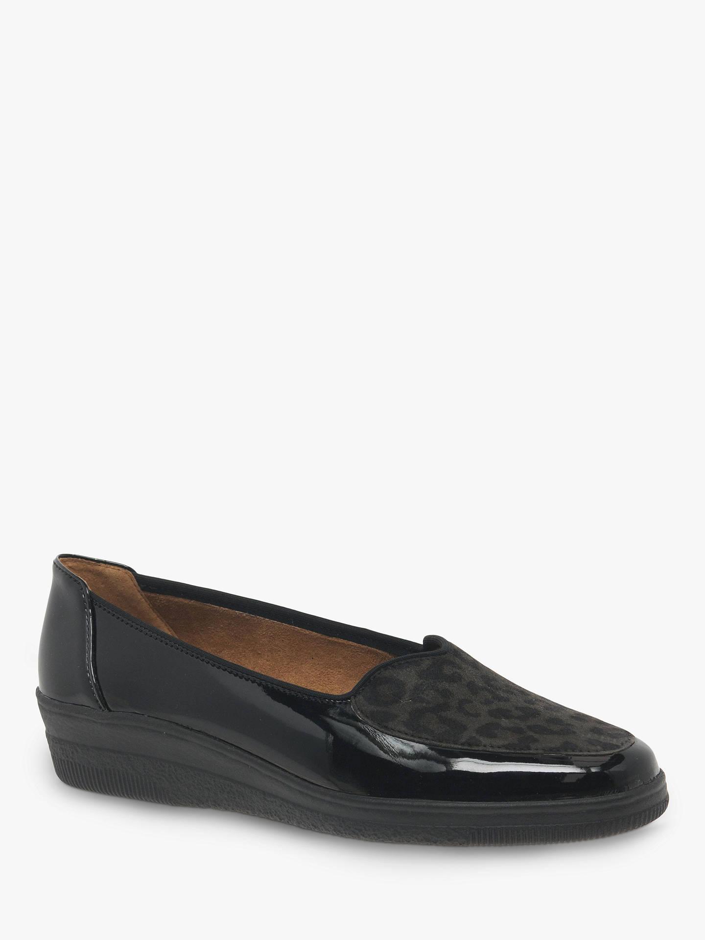 d2014bf3f843 ... Buy Gabor Blanche Wide Fit Patent Leopard Print Ballet Pumps, Black, 3  Online at ...