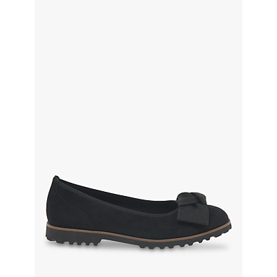 Image of Gabor Grenada Bow Detail Flat Leather Pumps, Black