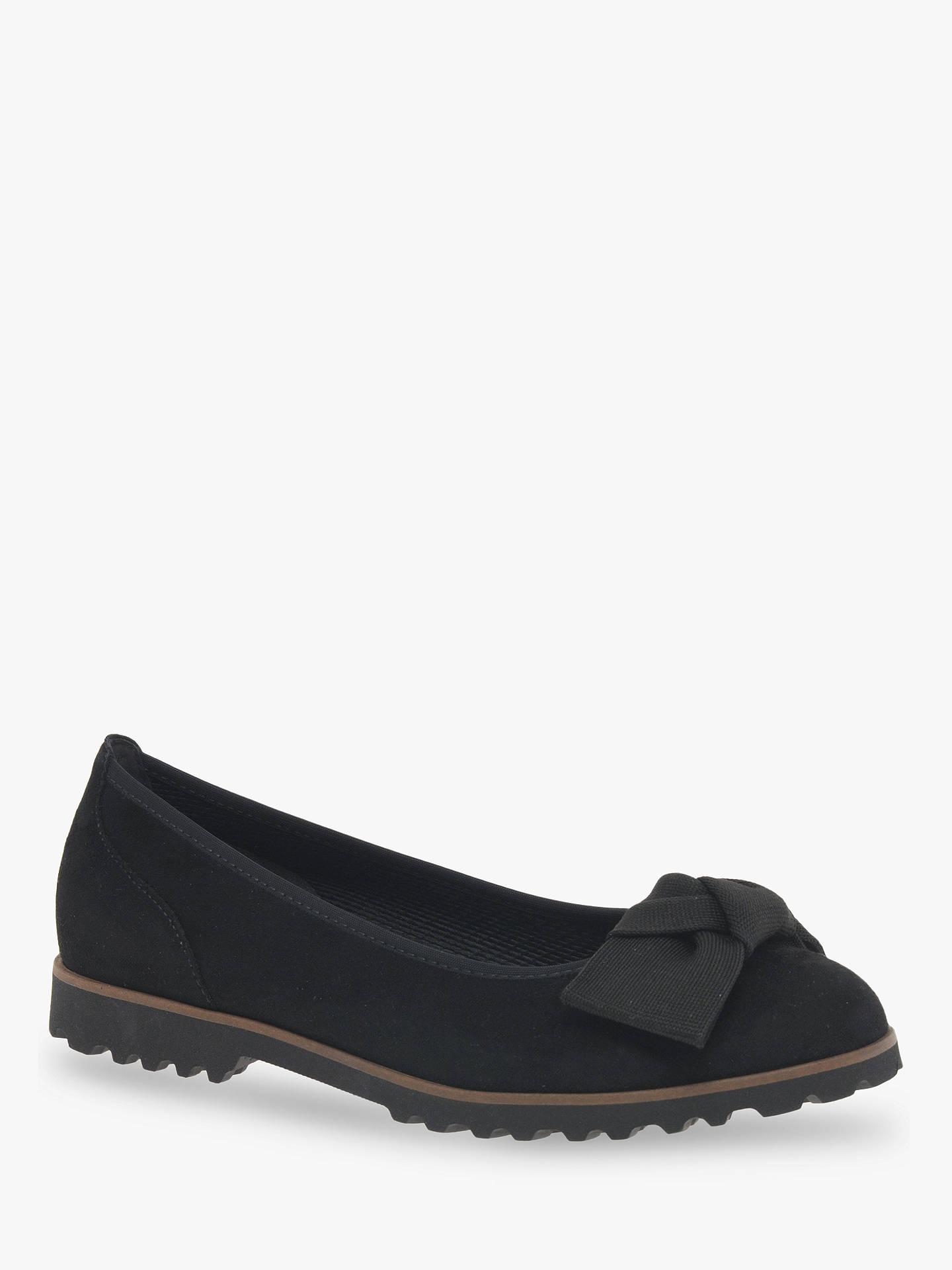 Buy Gabor Grenada Bow Detail Flat Leather Pumps, Black, 3 Online at johnlewis.com