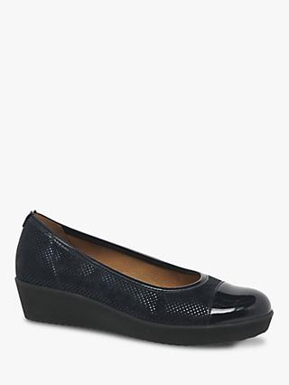 Gabor Orient Wide Fit Patent Wedge Pumps, Black