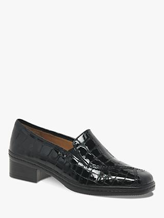 e137c2939855 Gabor Frith Wide Fit Patent Leather Heeled Loafers, Black