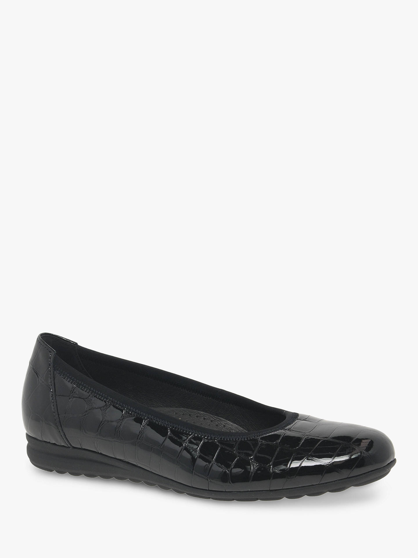 b5b9bb4b8cd1f Buy Gabor Splash Wide Fit Patent Leather Pumps, Black, 3 Online at  johnlewis.