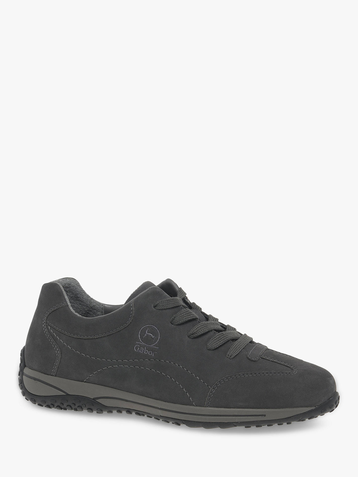 1917b8dd13ade Buy Gabor Geno Wide Fit Nubuck Lace Up Trainers, Light Grey, 3 Online at ...