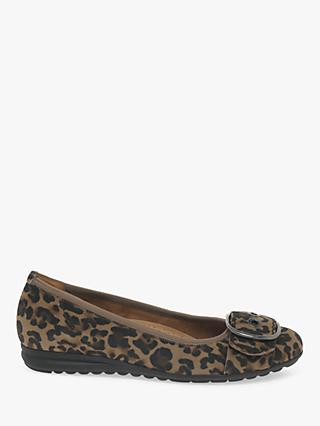 Gabor Saviour Wide Fit Suede Buckle Pumps, Leopard Print