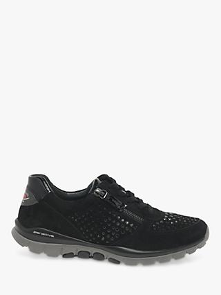 Gabor Fantastic Wide Fit Lace Up Trainers, Black