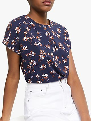 ARMEDANGELS Laaori Floral Print Blouse, Evening Blue