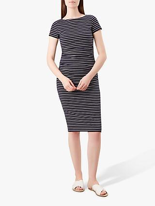 Hobbs Bridget Striped Midi Dress, Navy/White