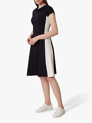 Hobbs Leonora Fit and Flare Dress, Navy/White