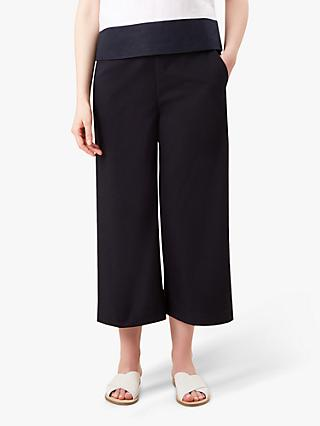 Hobbs Jodie Wide Leg Cropped Cotton Trousers, Navy