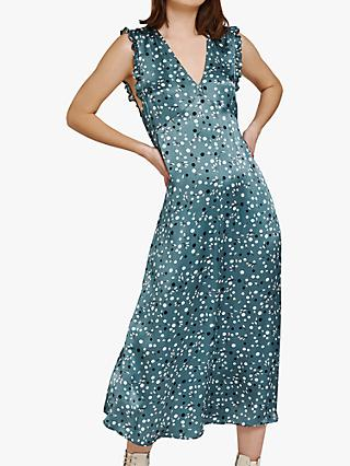 Ghost Kaylee Spot Print Satin Dress, Evergreen