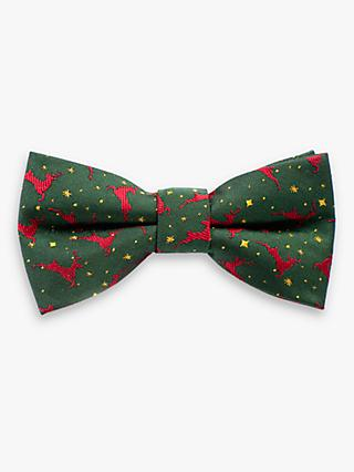 John Lewis & Partners Heirloom Collection Boys' Reindeer Print Bow Tie, Green