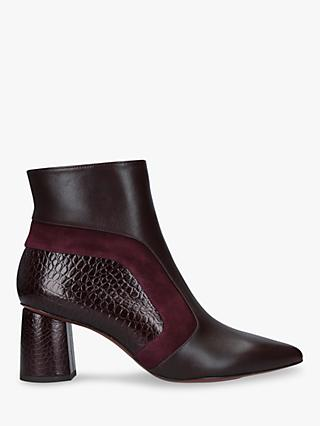 Chie Mihara Lupe Suede and Leather Block Heel Ankle Boots, Wine