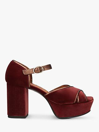 Chie Mihara Cory Block Heel Wedge Sandals, Rust
