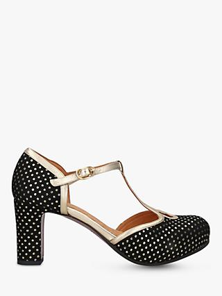 Chie Mihara Ibis Spot Pattern Block Heel Court Shoes, Black/Gold