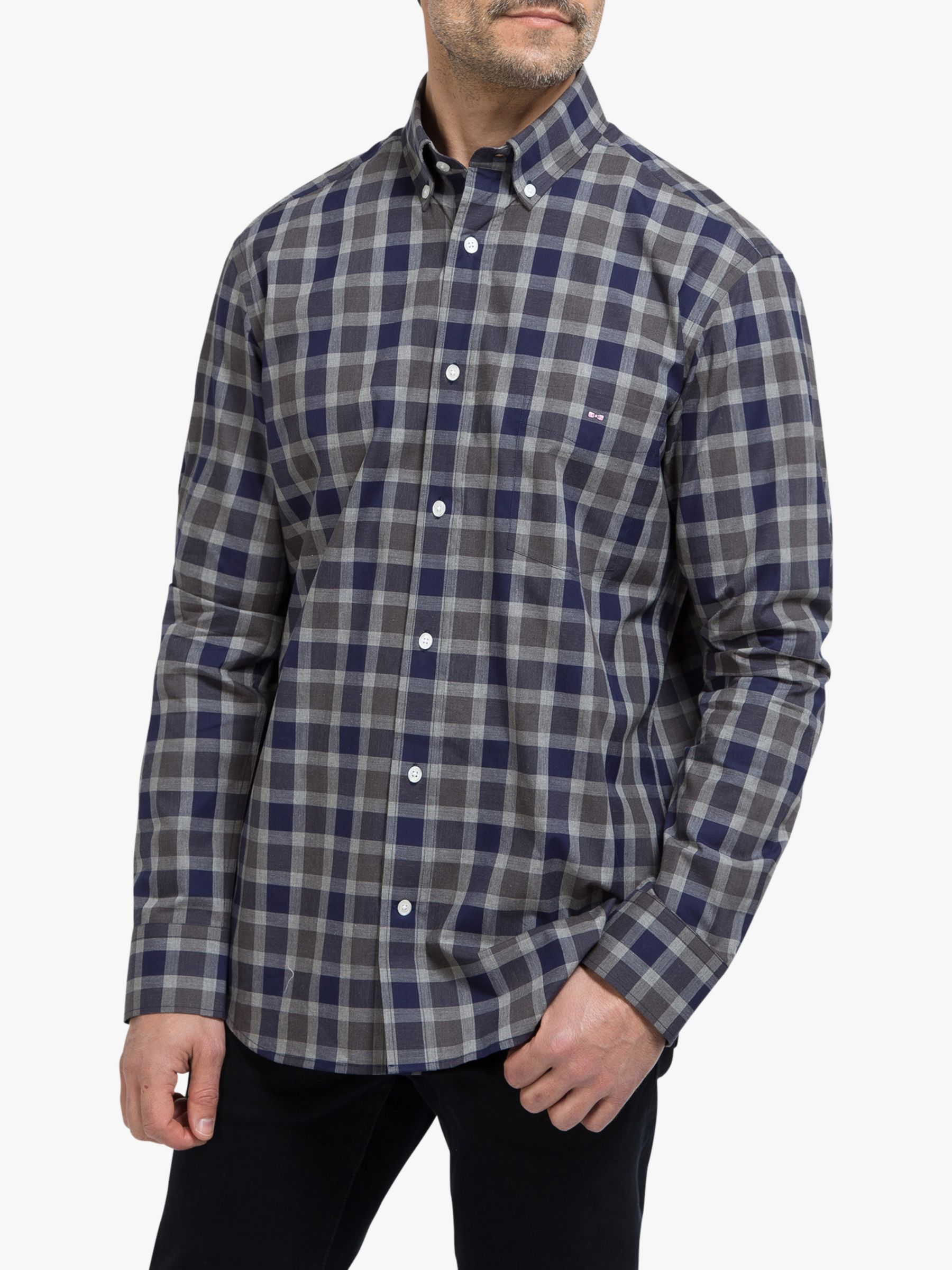 Eden Park Eden Park Cotton Check Regular Fit Shirt, Blue/Grey