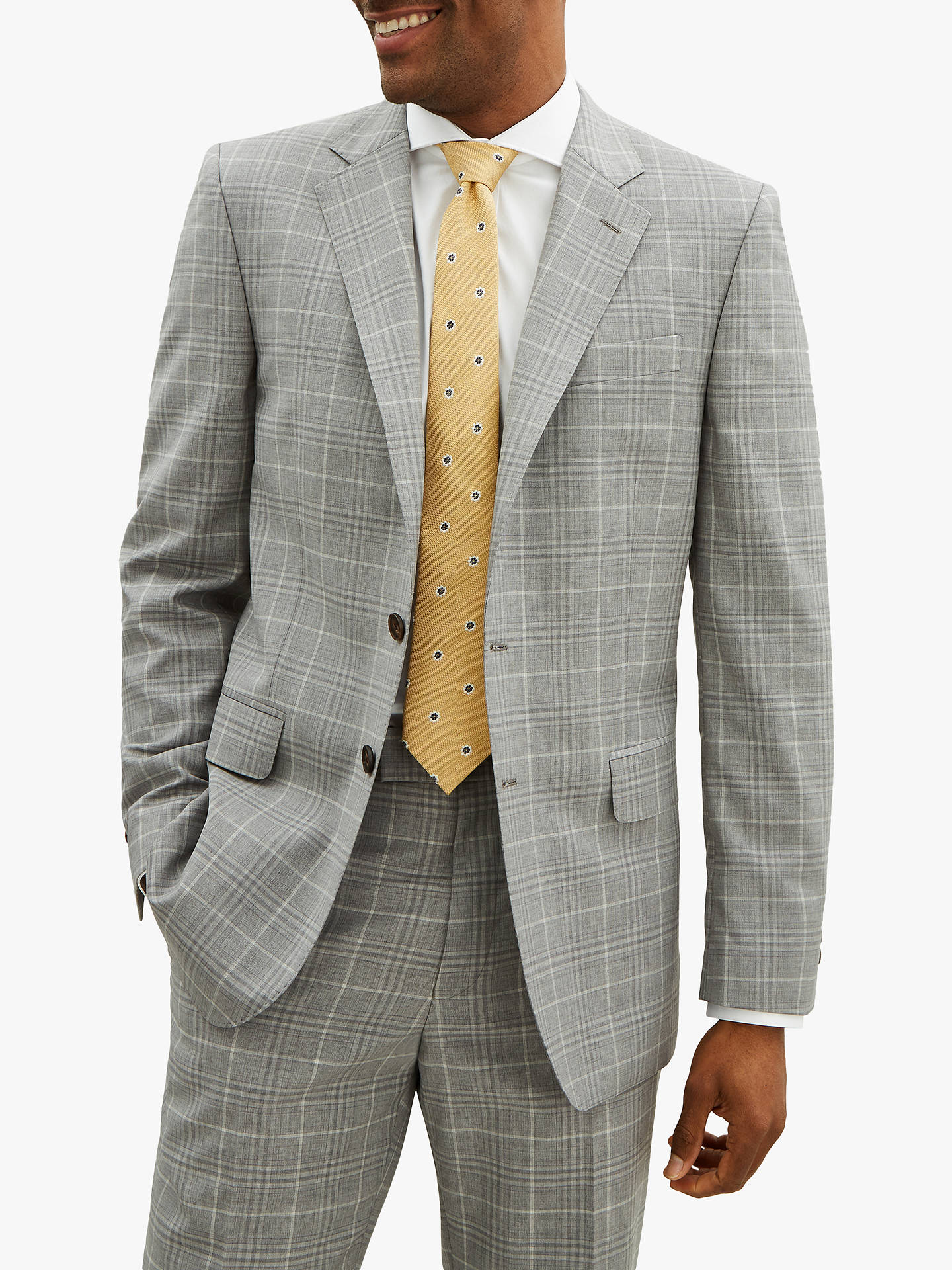 4ecc5c8163cf Buy Jaeger Wool Check Regular Suit Jacket, Light Grey, 36R Online at  johnlewis.