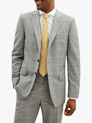 Jaeger Wool Check Regular Suit Jacket, Light Grey