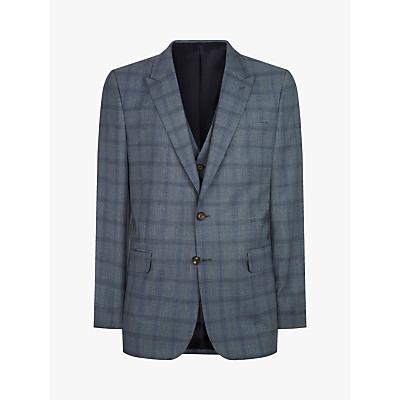 Jaeger Regular Fit Tonal Check Suit Jacket, Mid Blue