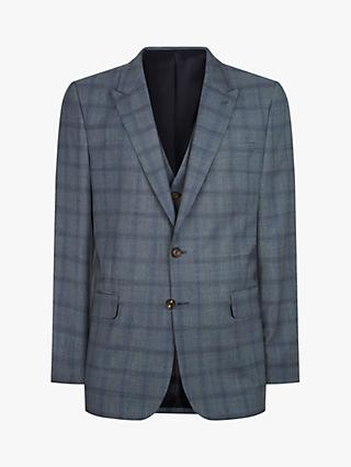 Jaeger Regular Fit Tonal Check Suit Jacket, Mid Blue
