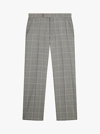 Jaeger Wool Check Regular Fit Suit Trousers, Light Grey