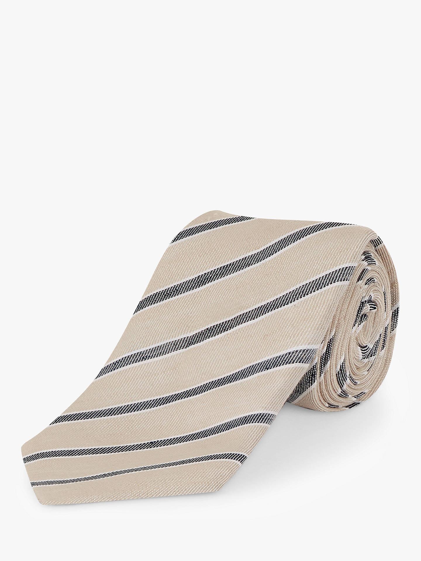 2a271698e7f87 Jaeger Stripe Linen Silk Tie, Cream