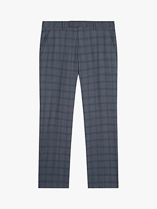Jaeger Wool Regular Fit Tonal Check Suit Trousers, Mid Blue