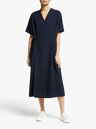 Kin Blanket Wrap Over Midi Dress, Navy