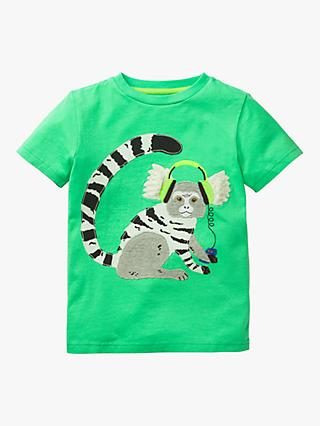 Mini Boden Boys' Applique Animal Dude Marmoset T-Shirt, Green
