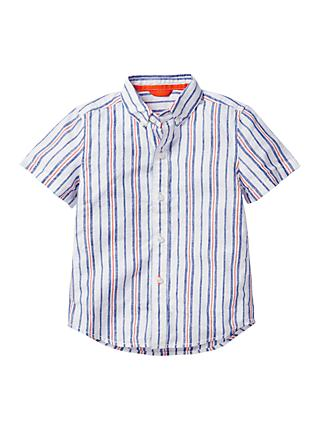 Mini Boden Boys' Fun Stripe Print Shirt, Blue/Orange