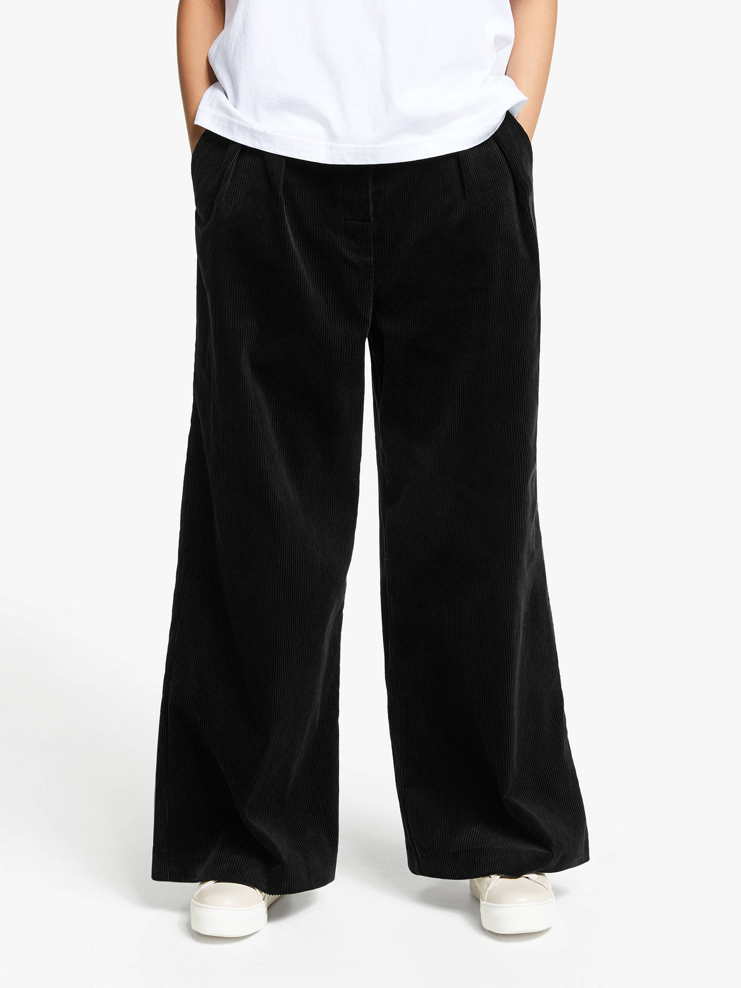 Buy Kin Wide Leg Cord Trousers, Black, 10 Online at johnlewis.com