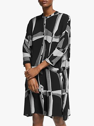 Kin Ruku Print Oversized Shirt Dress, Black