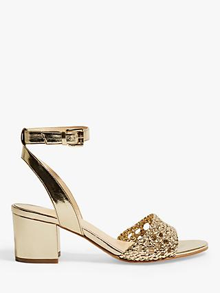 Karen Millen Woven Block Heel Sandals, Gold